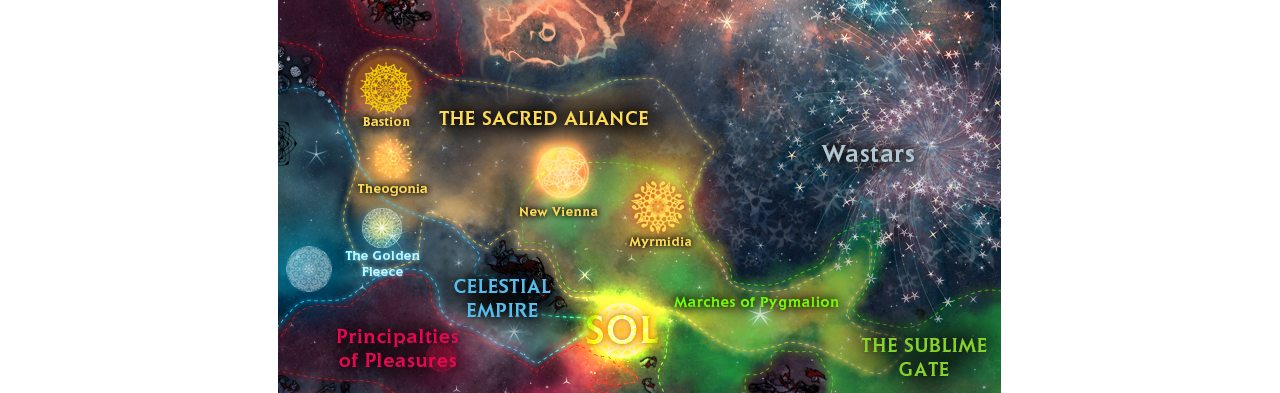 An overview of the galaxy in Conflicks: Sacred Alliance